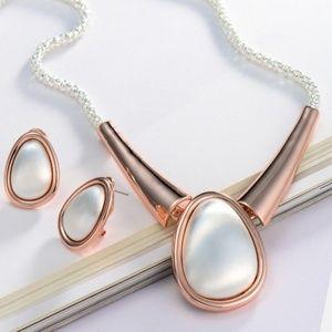 Trendy Rose Gold Geometric Chain Stud Earring Set